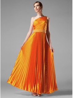 A-Line/Princess One-Shoulder Floor-Length Charmeuse Evening Dress With Ruffle Beading