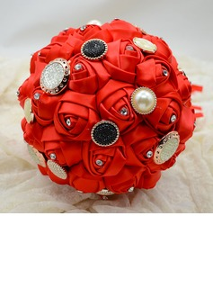 Bright Round Satin/Crystal Bridal Bouquets