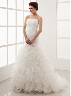 A-Line/Princess Strapless Court Train Organza Wedding Dress With Ruffle