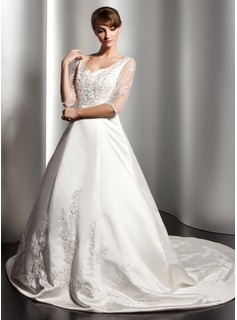Ball-Gown V-neck Chapel Train Satin Wedding Dress With Lace Beadwork (002014523)