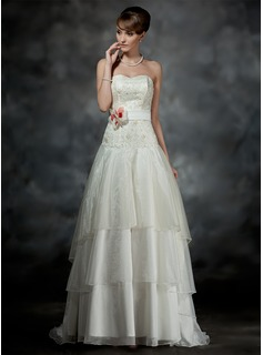 A-Line/Princess Sweetheart Court Train Organza Satin Wedding Dress With Lace Sashes Beadwork Flower(s)