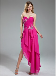 A-Line/Princess Sweetheart Asymmetrical Chiffon Charmeuse Prom Dress With Ruffle Beading