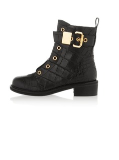 Real Leather Low Heel Pumps Closed Toe Ankle Boots With Buckle shoes