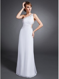 Sheath/Column One-Shoulder Floor-Length Chiffon Prom Dress With Ruffle Beading Sequins