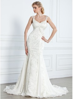 Mermaid V-neck Court Train Chiffon Lace Wedding Dress With Beadwork