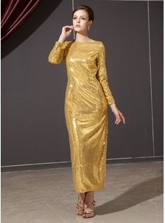 Sheath Scoop Neck Ankle-Length Sequined Holiday Dress