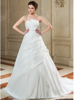 Ball-Gown Scalloped Neck Court Train Organza Wedding Dress With Ruffle Lace Beading Sequins Bow(s)