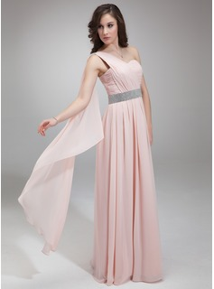 A-Line/Princess One-Shoulder Floor-Length Chiffon Evening Dress With Ruffle Beading (017018814)