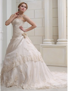 Ball-Gown Strapless Chapel Train Organza Satin Wedding Dress With Ruffle Lace Beadwork Crystal Brooch Flower(s)