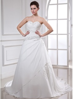 Ball-Gown Sweetheart Chapel Train Chiffon Wedding Dress With Ruffle Beading Appliques Lace Sequins