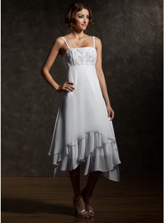 Empire Tea-Length Chiffon Wedding Dress With Lace (002000024)