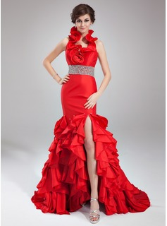 Mermaid Halter Court Train Taffeta Prom Dress With Beading