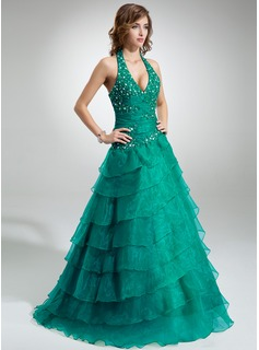 Ball-Gown Halter Floor-Length Organza Quinceanera Dress With Ruffle Lace Beading Cascading Ruffles