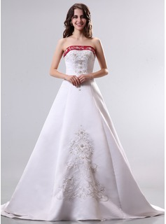 A-Line/Princess Strapless Court Train Satin Wedding Dress With Beadwork