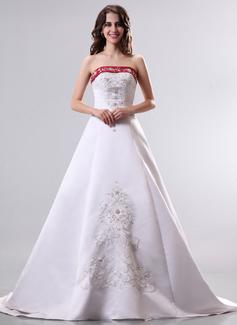 A-Line/Princess Strapless Court Train Satin Wedding Dress With Beading