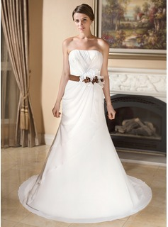 Mermaid Sweetheart Court Train Chiffon Satin Wedding Dress With Ruffle Sash Flower(s)