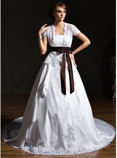 A-Line/Princess Strapless Chapel Train Taffeta Lace Wedding Dress With Ruffle Sash Bow(s)