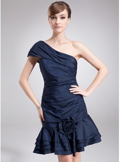 A-Line/Princess One-Shoulder Short/Mini Taffeta Cocktail Dress With Ruffle Flower(s)