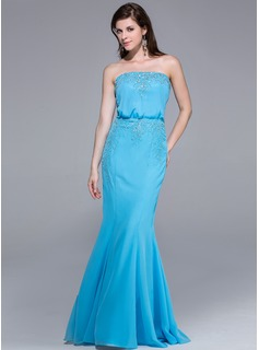 Mermaid Strapless Floor-Length Chiffon Evening Dress With Lace Beading