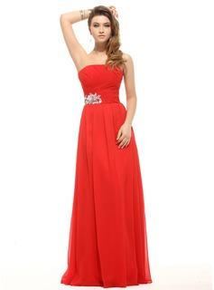 A-Line/Princess Strapless Floor-Length Chiffon Holiday Dress With Ruffle Sequins (020016068)