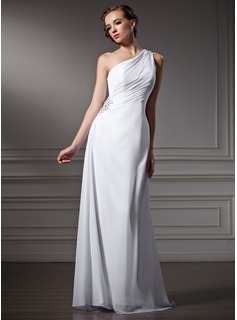 Sheath/Column One-Shoulder Sweep Train Chiffon Wedding Dress With Ruffle Beadwork