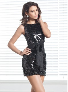 Sheath Scoop Neck Short/Mini Sequined Cocktail Dress With Sash (016020896)