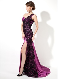 Sheath One-Shoulder Sweep Train Charmeuse Lace Evening Dress With Ruffle