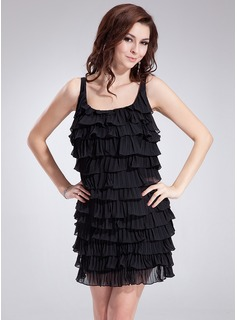 Sheath/Column Scoop Neck Short/Mini Chiffon Cocktail Dress With Cascading Ruffles Pleated