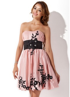 Empire Sweetheart Short/Mini Taffeta Homecoming Dress With Sash Beading Appliques