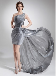 Sheath/Column One-Shoulder Asymmetrical Organza Prom Dress With Ruffle Beading
