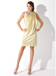 Sheath Scoop Neck Knee-Length Charmeuse Cocktail Dress With Beading