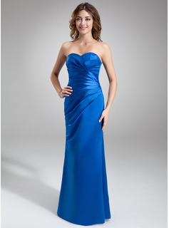 Sheath Sweetheart Floor-Length Satin Bridesmaid Dress With Ruffle