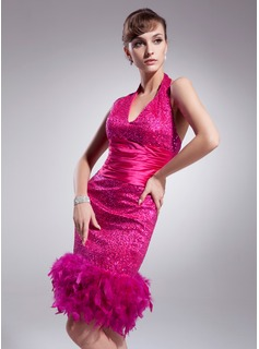 Sheath Halter Knee-Length Sequined Cocktail Dress With Ruffle Feather (016014257)