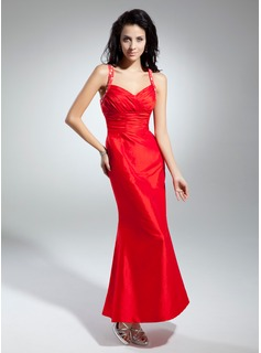 Mermaid Sweetheart Ankle-Length Taffeta Prom Dress With Ruffle Beading