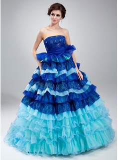 Ball-Gown Strapless Court Train Organza Lace Quinceanera Dress With Ruffle Beading