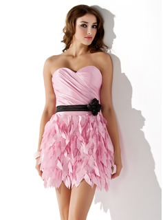 Sheath/Column Sweetheart Short/Mini Taffeta Homecoming Dress With Ruffle Sash