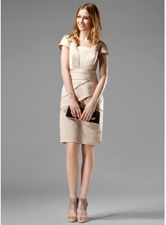 Sheath Square Neckline Knee-Length Satin Kate Middleton Style With Ruffle (044020783)