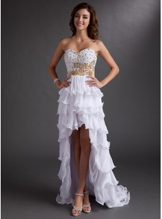 A-Line/Princess Sweetheart Asymmetrical Chiffon Prom Dress With Beading Sequins Cascading Ruffles