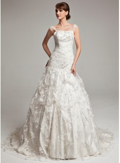 Ball-Gown Chapel Train Tulle Charmeuse Lace Wedding Dress With Ruffle Beadwork (002017566)