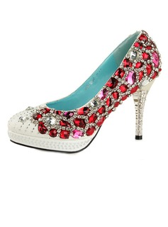Women's Satin Cone Heel Closed Toe Platform Pumps With Rhinestone Crystal Heel (047033929)