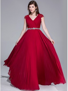 A-Line/Princess V-neck Floor-Length Chiffon Lace Evening Dress With Beading Pleated