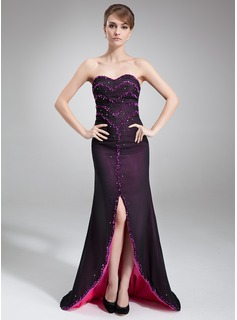 Sheath Sweetheart Asymmetrical Chiffon Evening Dress With Beading