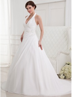 A-Line/Princess Halter Chapel Train Chiffon Wedding Dress With Ruffle Lace Beadwork