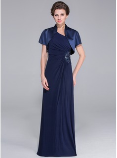 Sheath/Column One-Shoulder Floor-Length Jersey Mother of the Bride Dress With Ruffle Beading