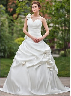 Ball-Gown One-Shoulder Cathedral Train Satin Wedding Dress With Ruffle Flower(s)