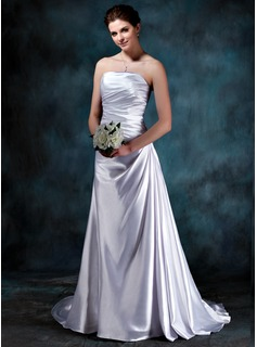 A-Line/Princess Strapless Court Train Charmeuse Wedding Dress With Ruffle