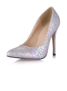 Leatherette Stiletto Heel Pumps Closed Toe With Sparkling Glitter shoes