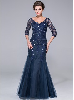 Mermaid V-neck Floor-Length Tulle Mother of the Bride Dress With Lace Beading