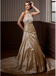 A-Line/Princess Halter Chapel Train Taffeta Organza Wedding Dress With Ruffle Beadwork