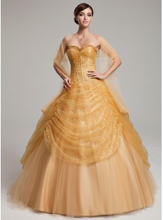 Ball-Gown Sweetheart Floor-Length Tulle Sequined Quinceanera Dress With Ruffle